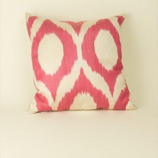 Kissen Seide 40x40 weiß/pink