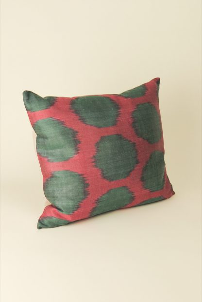 Kissen Seide 40x40 rot/grün